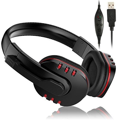 USB Kopfhörer PS3 mit Mikrofon, kompaktes Over-Ear-Kopfhörer Headset Gaming Gaming Gaming mit Mikrofon für PC Computer Playstation 3