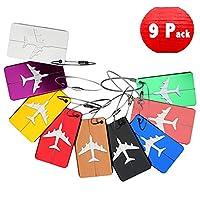 DoGeek Sets of 9 Travel Luggage Tags Baggage tags Handbag Labels Suitcase ID Tags Travel ID Bag tags (9 pcs)