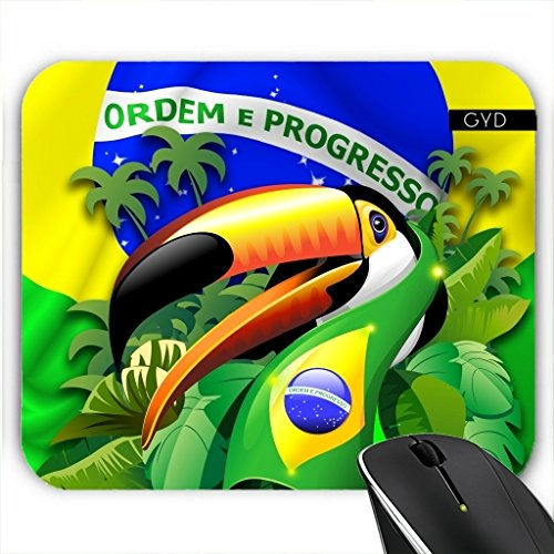 Mousepad - Toco Toucan Mit Brasilien-Flagge by BluedarkArt