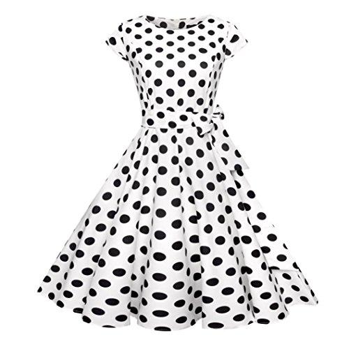 MRULIC Abendkleid Party Damen Retro Royal Kariertes Muster Prom Swing Kleid Weihnachten Valentinstag Karneval Kostüm(E-Weiß,EU-38-40/CN-L) (Weißes Kleid Weihnachten Kostüm)