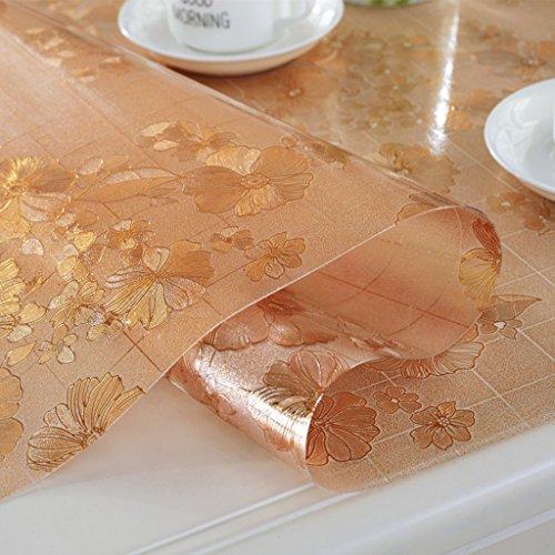 BSNOWF- Nappes Nappe ronde en PVC Matières en verre souple Tapis anti-chocolat anti-huile anti-chocolat Nappe marron foncé (Couleur: Rond / 1,0mm) (Couleur : #3, taille : Round-100cm)