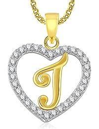 Modish Gold Plated Alphabet 'J' Letter Heart Pendant Locket With Chain For Men And Women/Boys & Girls