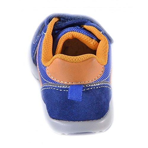 Naturino - Naturino Scarpe Bambino Blu Acciaio Arancio Pelle Tela Strappi Velcro Sport 366 Bleu