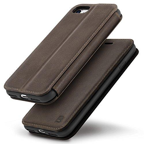 iPhone 7 Hülle, iPhone 8 Hülle BEZ® Handyhülle iPhone 7 [ECHT LEDER] Schutzhülle Tasche mit magnetischem, Leder Magnet Handytasche Bookstyle Klappbar Flip Case -Chocolate Chocolate