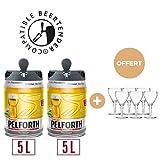 2 x 5L + 6 verres OFFERTS - PELFORTH Fûts de biere Blonde 5.8° compatible Beertender