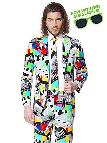 al Anzug für Herren besteht aus Sakko, Hose und Krawatte mit einem lustigen 80er Jahre TV-Testbild-Print - Jetzt mit passender Party-Sonnenbrille gratis (80er-jahre-themen-kleidung)