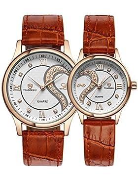 OOFIT Uhr Damen uhr herren uhr Seine und ihre braunes Lederarmband Gold überzogenes Geschenk Partneruhr Uhren...