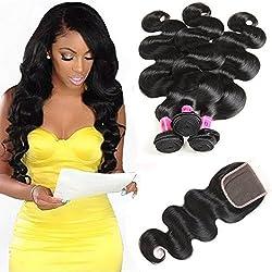 Kaisheng Brazilian Body Wave Virgin Hair Bundles with Closure Unprocessed 3 Bundles of Brazilian Virgin Human Hair Weave with 1pc 4x4 Closure Free Part (14 16 18with 12inch closure)