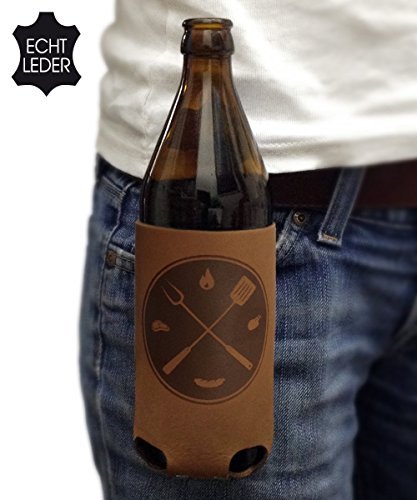 51vh cWkf8L - Bierholster Grillmeister 0,5l – Das Original aus echtem Leder – Bier Bierhalter