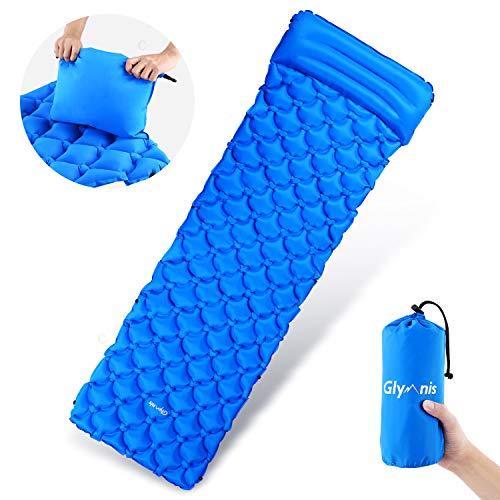 Glymnis Camping Isomatte Schlafmatte Luftmatratze Kleines Packmaß mit Kissen und Airbag Ultraleichte Aufblasbare Isomatte für Camping Reise Outdoor Wandern Strand (Verpackung MEHRWEG) -