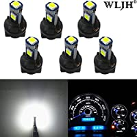 WLJH T5 LED Wedge Bulbs 17 73 74 1.5W 3030SMD Tablero de instrumentos Cluster Dash Light Lamps + Twist Socket, Blanco