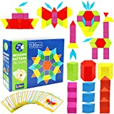 Lewo 130 Teilig Holzpuzzles Geometrische Formen Puzzle Bausteine Montessori Spielzeug Lernspielzeug Für Kinder Mädchen und Jungen ab 3 Jahr