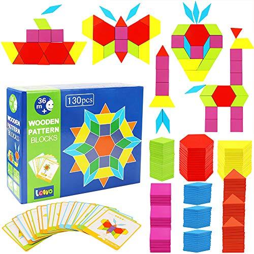 Lewo blocchi di legno classico educativo giocattoli montessori set di tangram per bambini con 130 pezzi di forma geometrica e 24 schede di progettazione