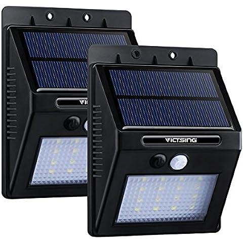2 Packs Luces Solares LED de Pared con Sensor Movimiento de VicTsing, Detector Activado Lámpara Exterior para Jardín Patio Camino de Entrada Escaleras,Iluminación de exterior y Iluminación de