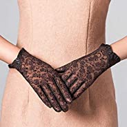 ASGYKM Ladies Driving Driving Sun Protection Gloves Lace Leather Sun Protection Mittens Sheepskin Thin Evening