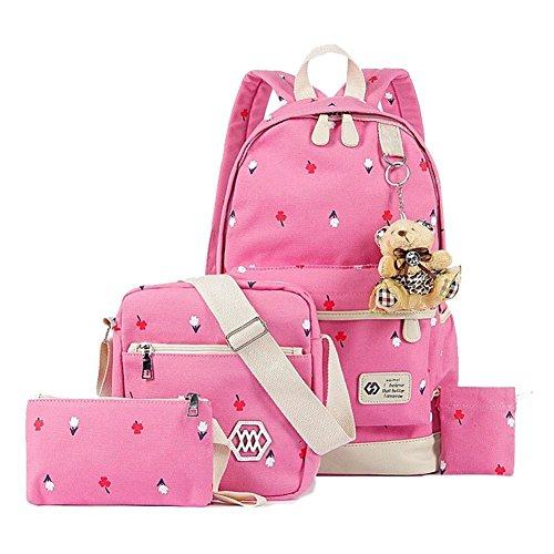 YiLianDa Zaino Tela Università Donna Zaini Femminili Scuola Zainetto Vintage Borsa A Tracolla Borsetta Messenger Bag Portafoglio Per Ragazze Rosa