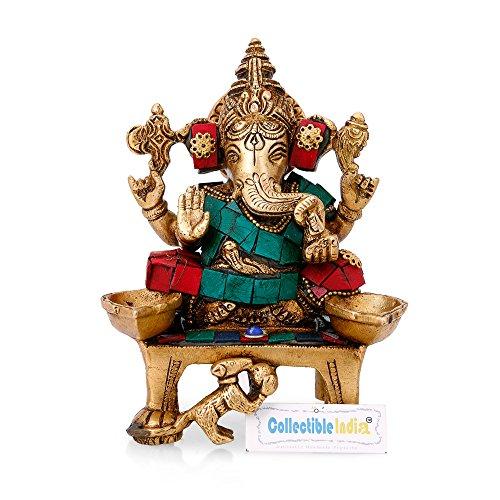 Collectible India Brass Ganesha Idol Hindu God Ganesh Diwali Puja Murti Ganesh Diya