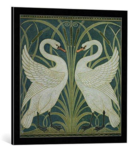 kunst für alle Bild mit Bilder-Rahmen: Walter Crane Swan Rush and Iris Wallpaper Design - dekorativer Kunstdruck, hochwertig gerahmt, 60x60 cm, Schwarz/Kante grau -