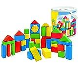 Unbekannt 60 Stück große - Bausteine aus Holz in Eimer - bunte Steine Holzbausteine - bunt Bricks Baustein Naturbaustein - Kinderland - Holzbaustein - für Kinder Mädchen Jungen / Holzspielzeug