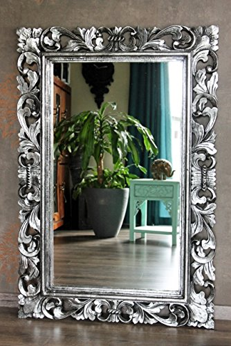 Naturesco Edler Holz Barockspiegel Wandspiegel silber antik Hoch- Querformat 120cm x 80cm