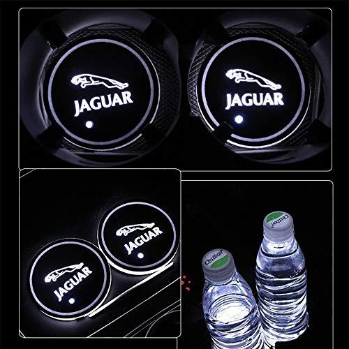 PRXD 2pcs LED Auto Cup Halter Matte Pad Wasserdicht Flasche Getränke Untersetzer für Universal Auto zur Autodekoration Stimmungslicht Innenraumbeleuchtung wasserdicht (Jaguar)