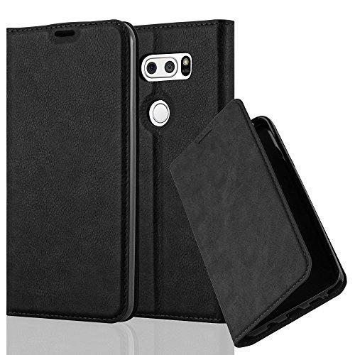 Cadorabo Hülle für LG V30 / V30+ / V30s / V30s+ - Hülle in Nacht SCHWARZ – Handyhülle mit Magnetverschluss, Standfunktion und Kartenfach - Case Cover Schutzhülle Etui Tasche Book Klapp Style