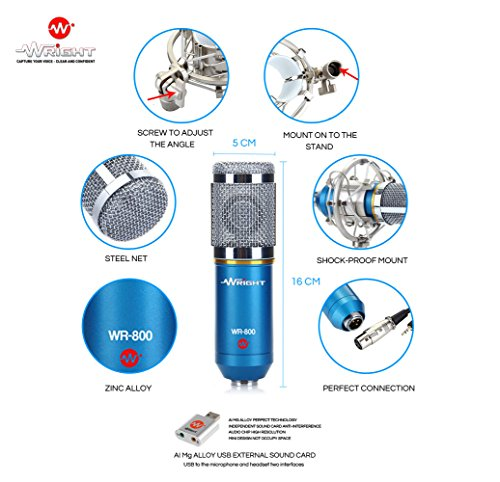 Wright-WR-800-Condenser-Microphone-for-voice-recording-and-singing-compatible-Microphone-for-PC-Laptop-with-Free-USB-sound-card