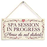 """Beautiul Gift Spa Session In Progress Please do not disturb Pretty Love Heart Frame Design Sign, Plaque Wooden Hanging Sign 6""""x14""""."""