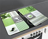 Schutzplatten Herdabdeckplatten aus Glas Menu Abdeckplatten Motivplatten WENKO 2 Stück