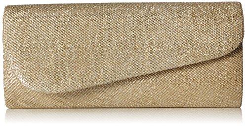 Damara Schräg Abdeckung Shimmert Damen Clutch Abendtasche,Champagne (Gold Champagne Kleid)