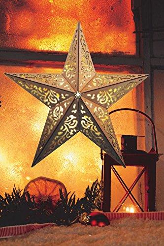 Holzstern + Fernbedienung Ø 40cm 10 LEDs Weihnachten Fenster Deko Stern kabellos