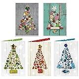 2 x 5 Stück Weihnachtskarten-SET Karten Weihnachten WEIHNACHTS-BAUM rot grün blau grau weiß MIT KUVERT Klapp-Karten weihnachtlich - ohne Text - Foto-karte blanko neutral