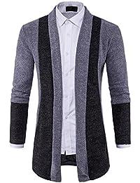 FORH Herren Modisch Herbst Strickjacke Pullover Windbreaker cool Sweatjacke  Sweatshirt Slim Fit Kapuzen Strick Patchwork farbe 995757c97d