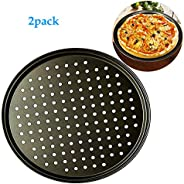 12.6inch Perforated Pizza Pan,2-Piece Set,Carbon Steel Nonstick Pizza Plate Dishes Holder Bakeware Home Kitche