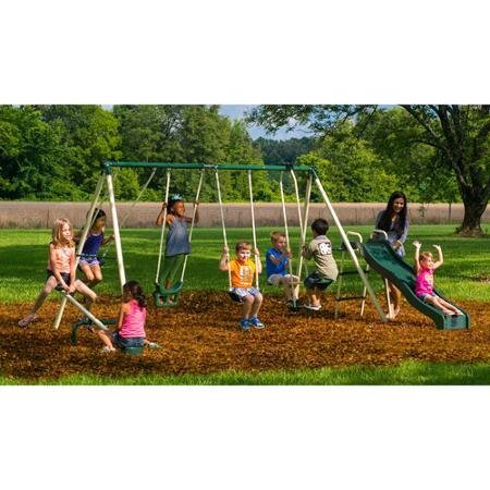 Backyard Swingin' Fun Metal Swing Set Features 5 activities that will keep 8 kids busy at the same time by Flexible Flyer
