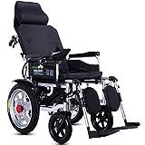 ACEDA Elektrischer Rollstuhl Mit Kopfstütze,Elektrorollstuhl,Faltbar Tragbare,Sitzbreite 45Cm(Kann 120Kg Unterstützen),Rückenlehne Und Pedalwinkel Können Eingestellt Werden
