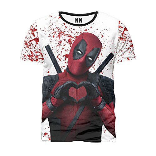 DEADPOOL LOVE - T-Shirt Man Uomo - Universo Marvel Comics Ryan Reynolds Spiderman Fumetto