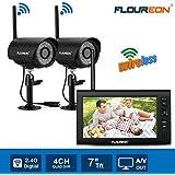 "FLOUREON 930S2 - Kit de 2 Cámara IP digital inalámbrica de Viginancia+1 Monitor TFT LCD DE 7"", Negro"