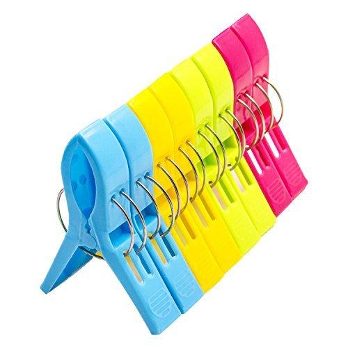 o-best 8Stück Bright Farbe Strandtuch Clips für Strand Stuhl Pool Stühle cruise- Kunststoff Handtuch Clamp Clip Halterung-Jumbo Größe halten ihr Handtuch von Blowing Away, Kleidung Linien 8Pack - Kunststoff-strand-stuhl