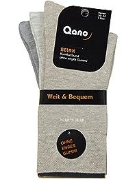 Qano Relax Business und Freizeit Herrensocken ohne enges Gummi Beige , Grau sortiert im 3er-Pack