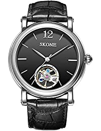 SKONE Classic Automatic Mechanical Mens Watch with Simple Scale Genuine Leather Strap 30m Waterproof (Black Black)