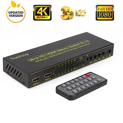 HDMI Matrix Switch (6-Input 2-Output) with IR Remote and European Standard Power Adapter, Support PIP, ARC, Audio Extractor, 3D, 4K@30HZ, SPDIF OUT, Audio EDID for HD Displays, Home Theater, AV Receiver (Remote Power Adapter Ac)