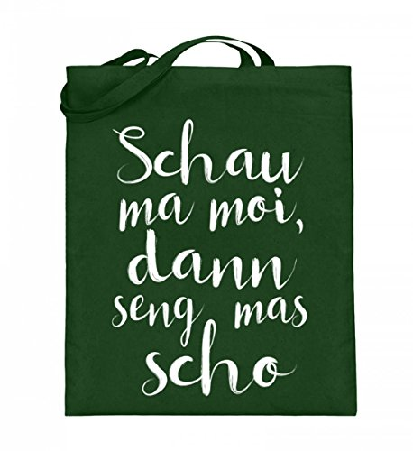 Hochwertiger Jutebeutel (mit langen Henkeln) - SCHAU MA MOI, DANN SENG MAS SCHO - Bayerisch · Boarisch · bayrisch · Shirt · lustig · Spruch · Pulli · Jacke · Hoodie · T-Shirt · Geschenk (Grünes Humor Bier T-shirt)