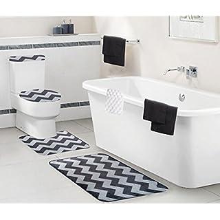 Geneva Home Fashion 9 Piece Sienna Bath Mat Set, Grey