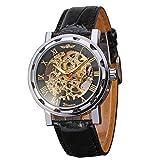 GuTe, orologio da uomo, stile Steampunk, regolabile a mano, analogico, con numeri romani, cinturino in pelle nera, lancette luminose.
