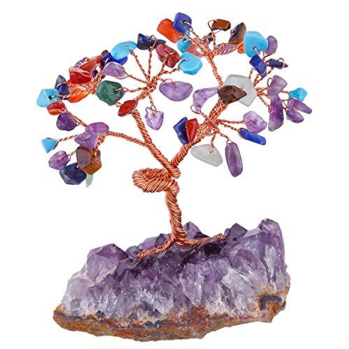 Mookaitedecor - salvadanaio in pietra preziosa feng shui, ornamenti a forma di albero di cristallo, pietra di quarzo grezza, pietra, mixed colour