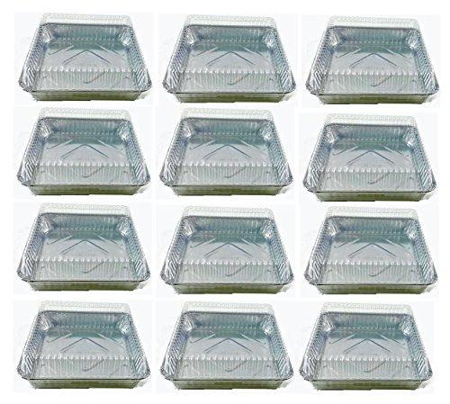 Set von 6strapazierfähigem Folie Einweg Aluminium 73/20,3cm X 73/20,3cm Kuchen Pfannen mit Deckel silber Square Loaf Pan