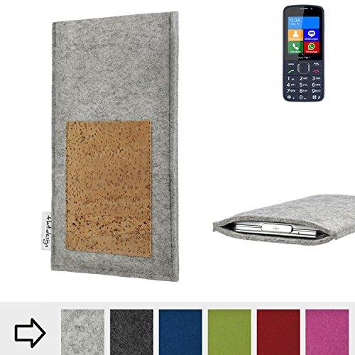 flat.design Handytasche Evora mit Scheckkartenfach für bea-fon SL820 - Schutz Case Etui Filz Made in Germany in hellgrau mit Korkstoff - passgenaue Handy Hülle für bea-fon SL820