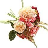 Quaan Kunstblumen,Künstliche Fake Blumen Dahlie Blumenstrauß Blumen Hochzeit Bouquet Party Home Decor (Rot)
