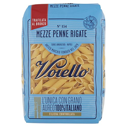 Voiello Pasta Mezze Penne Rigate, Pasta Corta di Semola Grano Aureo 100%, Specialità Napoletane - 500 gr